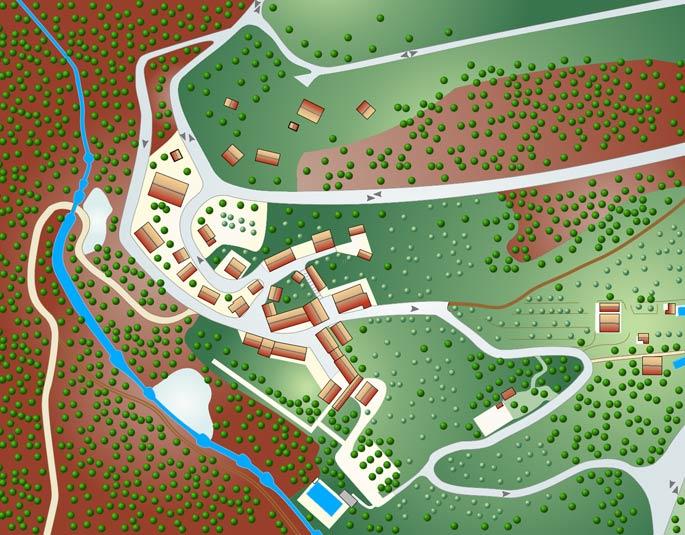 La mappa di bagni san filippo, le terme, il fosso bianco, la  cascata della balena, la grotta di San Filippo, ristoranti e i negozi